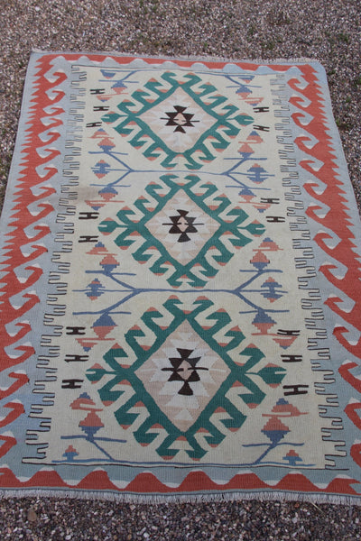 Vintage Turkish Kayseri Kilim Rug, Hand Woven 4' x 5'10, Very Good Condition, Wool, Bohemian, Tribal Global Home Decor, Pastel Desert Colors - ShopWomanShopsWorld.com. Bone Beads, Tassels, Pom Poms, African Beads.