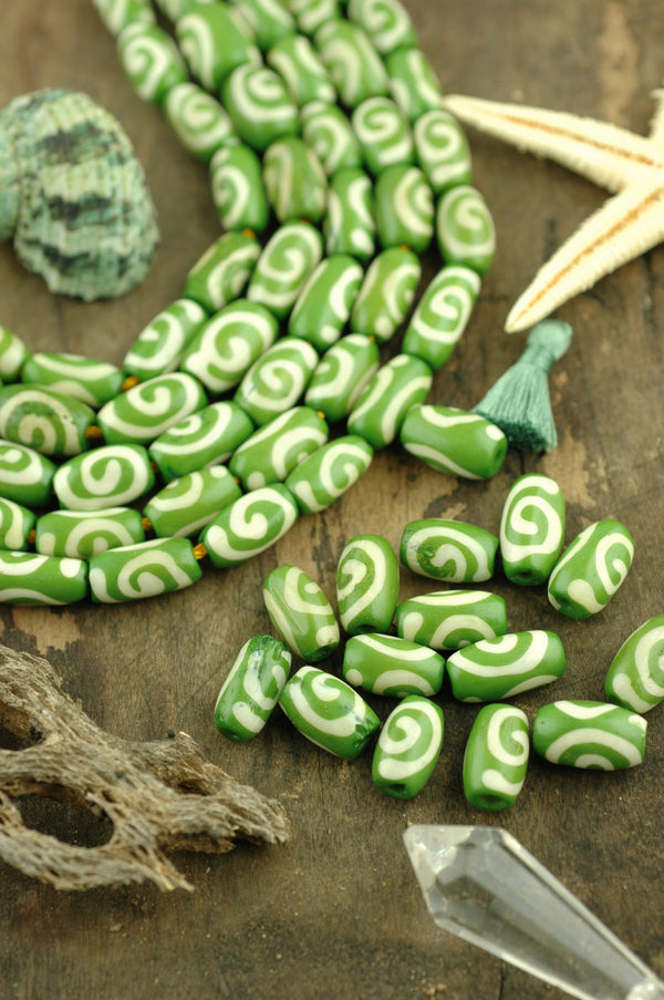 Green Barrel: Large Hole Hand Painted Spiral Design Bone Tube Beads, 6x12mm, Stained, Painted Cow Bone, Craft, Jewelry Making Supply, 15 pcs - ShopWomanShopsWorld.com. Bone Beads, Tassels, Pom Poms, African Beads.