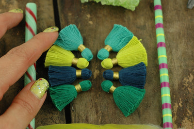 "Blue Green Tassel Mix: 1.25"" Cotton Fringe with Gold Binding, 8 pieces"