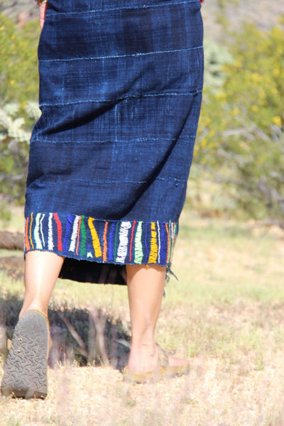 "Embroidered Vintage Marriage Indigo Cloth, 36"" x 58"" - ShopWomanShopsWorld.com. Bone Beads, Tassels, Pom Poms, African Beads."