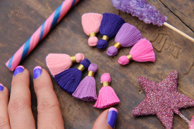 "Pink Purple Tassel Mix: 1.25"" Cotton Fringe w/ Gold Binding, 8 pieces"