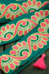 "Teal Neon Swirl: Bright Silk Trim, Ribbon, Sari Border, 2 1/4""x1 Yard - ShopWomanShopsWorld.com. Bone Beads, Tassels, Pom Poms, African Beads."