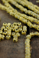 Yellow Tumbling Dice : Hand Carved Cube Bone Beads, 5x5mm, 48 Large Hole beads, Stained, Painted Cow Bone, Craft, Jewelry Making Supply - WomanShopsWorld