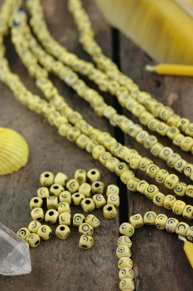 Yellow Tumbling Dice: Hand Carved Bone Beads, 5x5mm, 48 pieces
