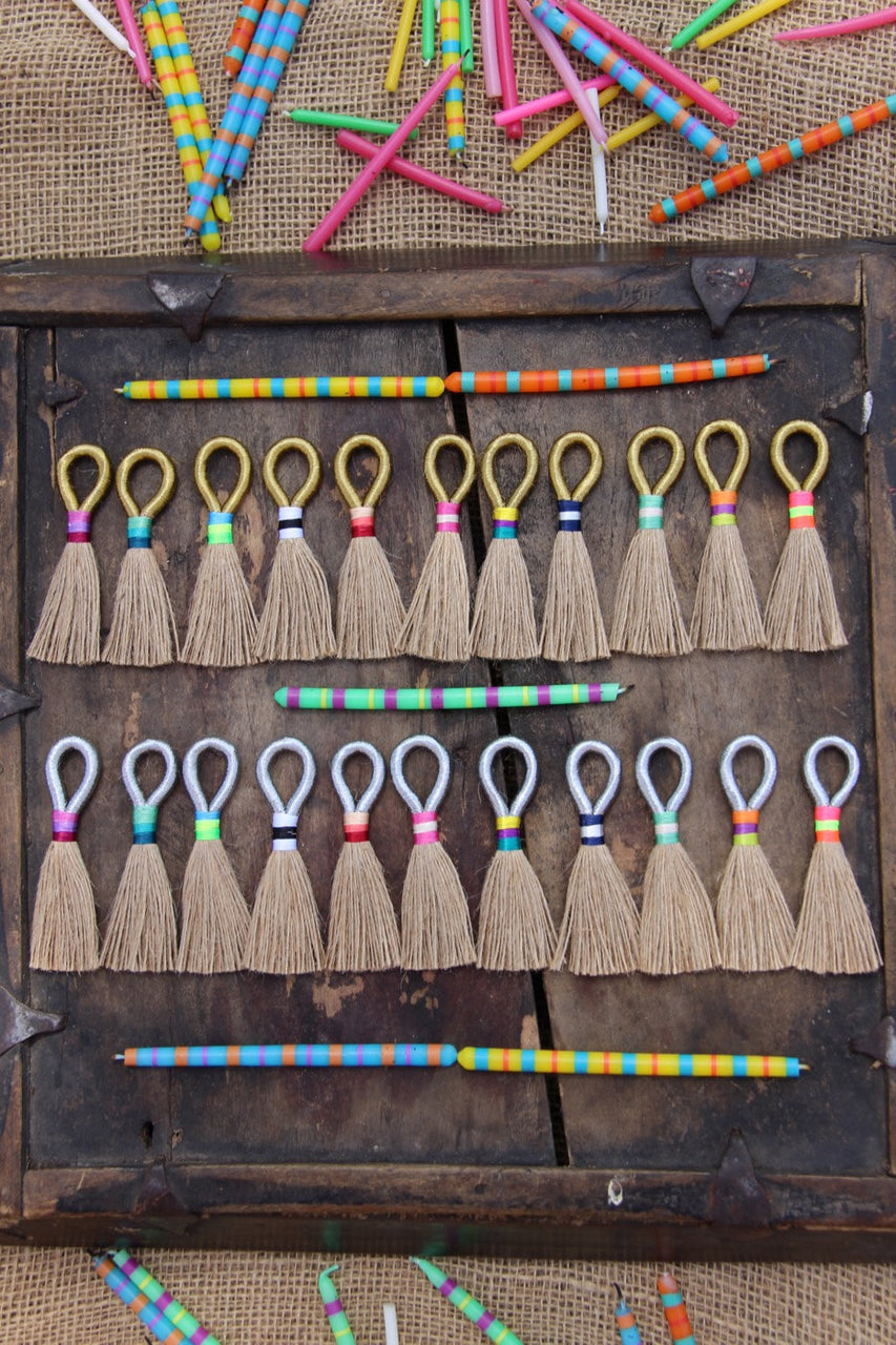 "Natural Jute with Metallic Loop, 3 1/4"" Tassels - ShopWomanShopsWorld.com. Bone Beads, Tassels, Pom Poms, African Beads."