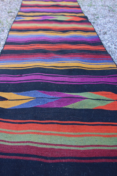 "Vintage Anatolian Turkish Kilim Runner Rug, 2'3"" x 9'8"", Boho Tribal Home Decor"