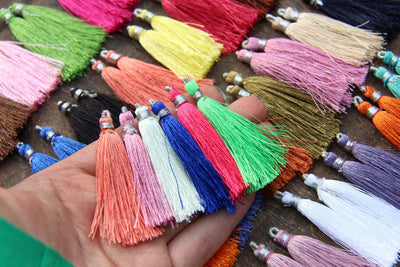 "Silk Tassels, Art Silk from India, 2"", 30 pieces - ShopWomanShopsWorld.com. Bone Beads, Tassels, Pom Poms, African Beads."