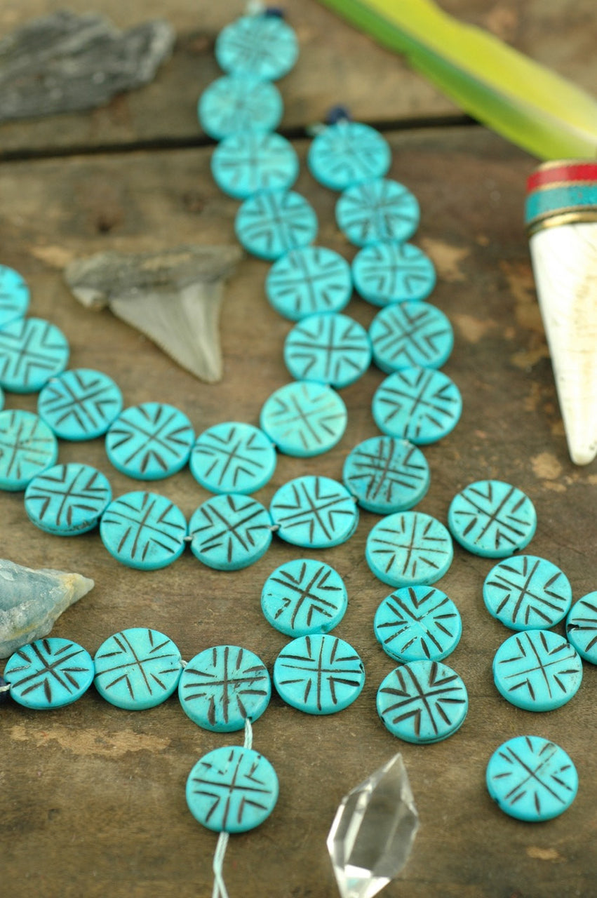Turquoise Discs Hand Carved Bone Beads 3x16mm 14 Pieces Womanshopsworld