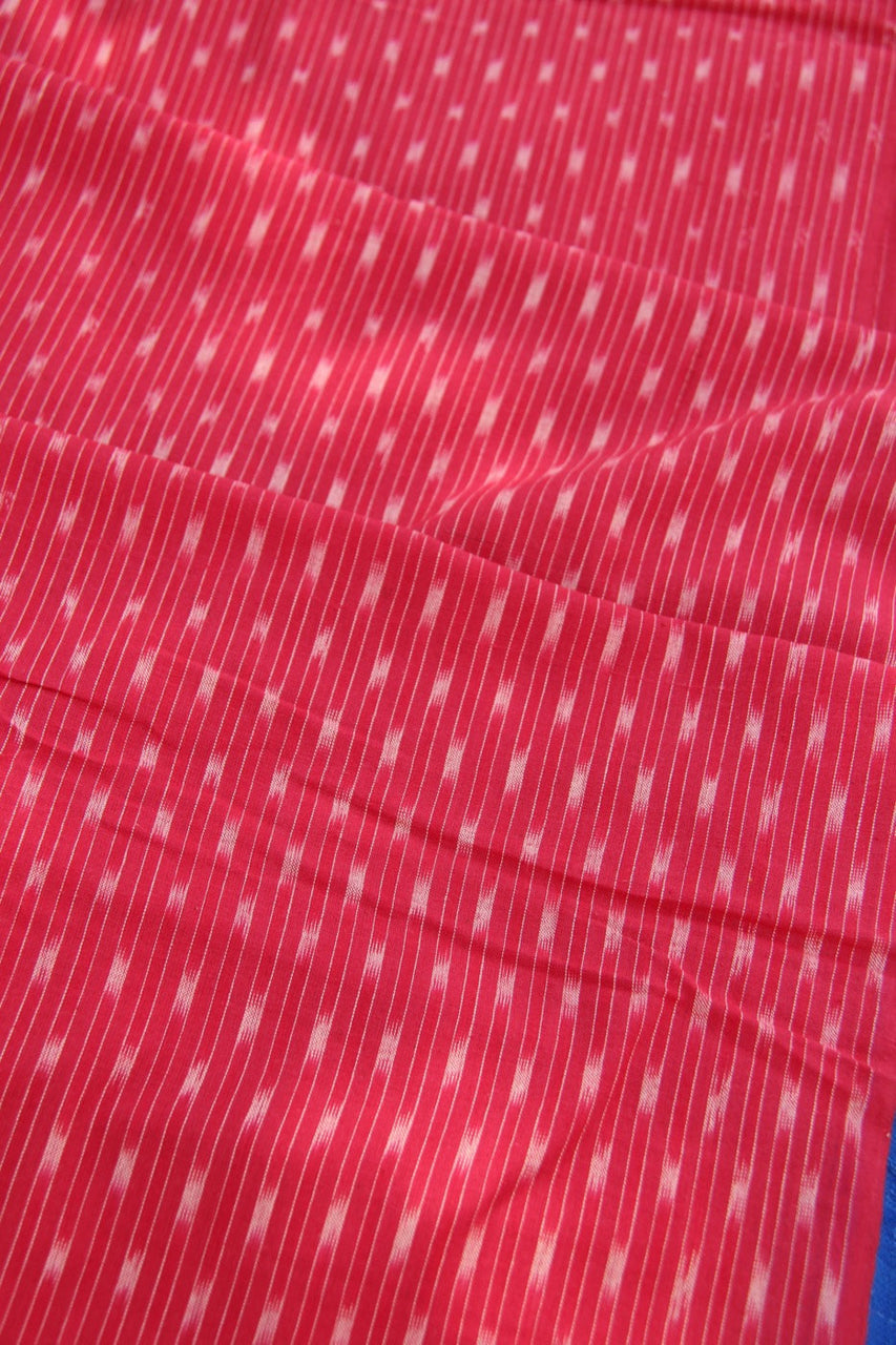 "Red Ikat Handloom Traditional Indian Fabric, Hand-Dyed Cotton, Hand Woven Light Weight Fabric for Sewing, Designer Quality, 1 Yard x 43"" - ShopWomanShopsWorld.com. Bone Beads, Tassels, Pom Poms, African Beads."