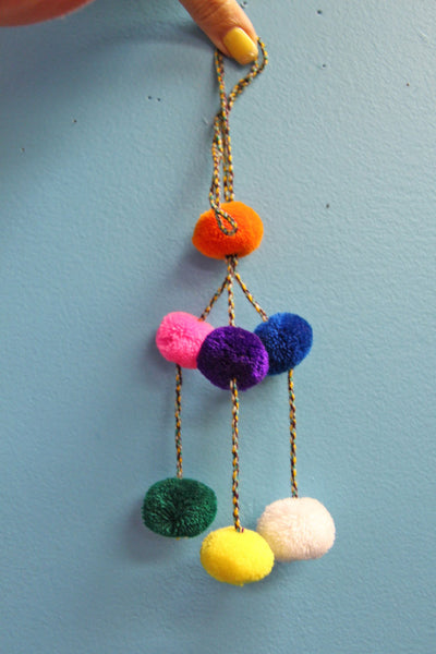 Neon Pom Pom Charm, Llama Swag, Boho Gypsy Home Decor