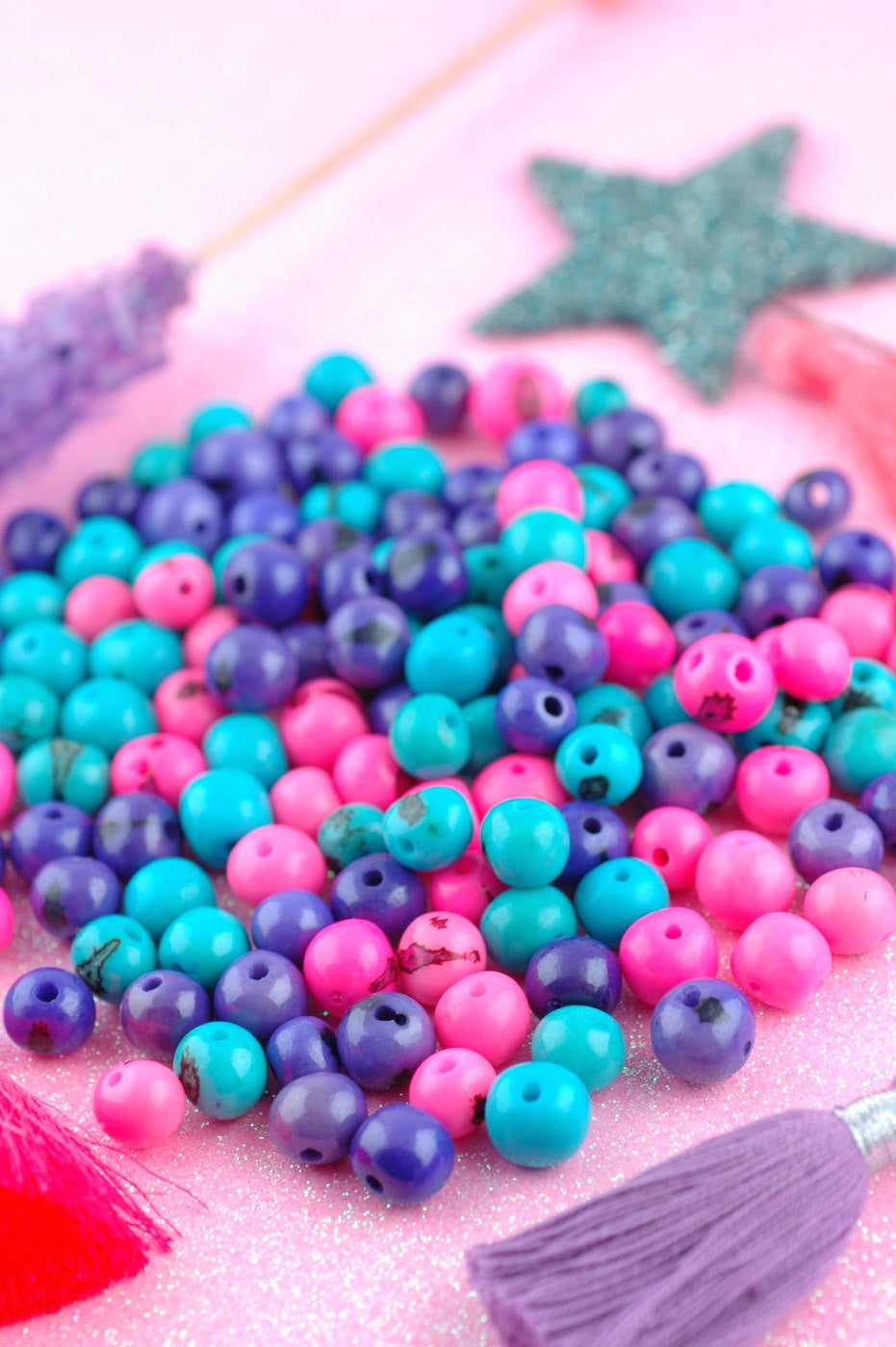 Sweet Sunrise Acai Beads Mix: Real, Natural South American Eco- Friendly, 10mm, 100 beads, Pink, Purple, Aqua Mix, Jewelry Making Supply - WomanShopsWorld