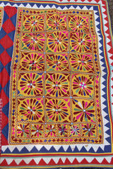 Vintage Handmade Cow Blanket, Rajasthan, India, Colorful, Geometric Tribal Decoration, Textile, Fabric, Wall Hanging, Decor, Sewing Supply - WomanShopsWorld