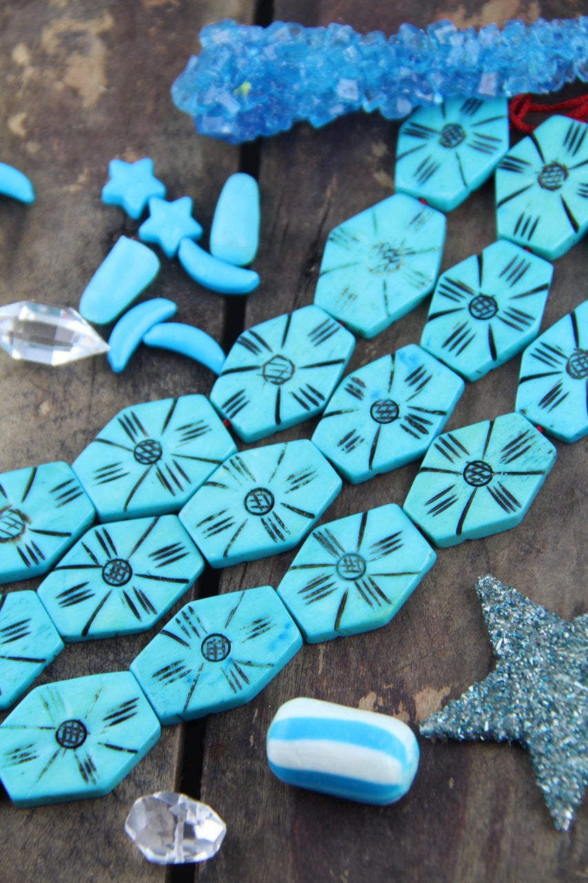 Turquoise Hexagon: Blue Bone Beads, 24x30mm, 6 pieces - ShopWomanShopsWorld.com. Bone Beads, Tassels, Pom Poms, African Beads.