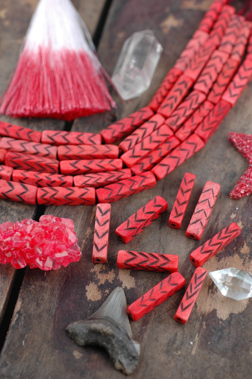 Red Chevron Rectangle: Handmade Bone Beads, 6.5x28mm, 8 Pieces - ShopWomanShopsWorld.com. Bone Beads, Tassels, Pom Poms, African Beads.