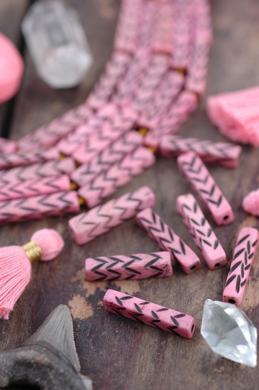 Pastel Pink Chevron Rectangle: Bone Beads, 6.5x28mm, 8 pieces - ShopWomanShopsWorld.com. Bone Beads, Tassels, Pom Poms, African Beads.