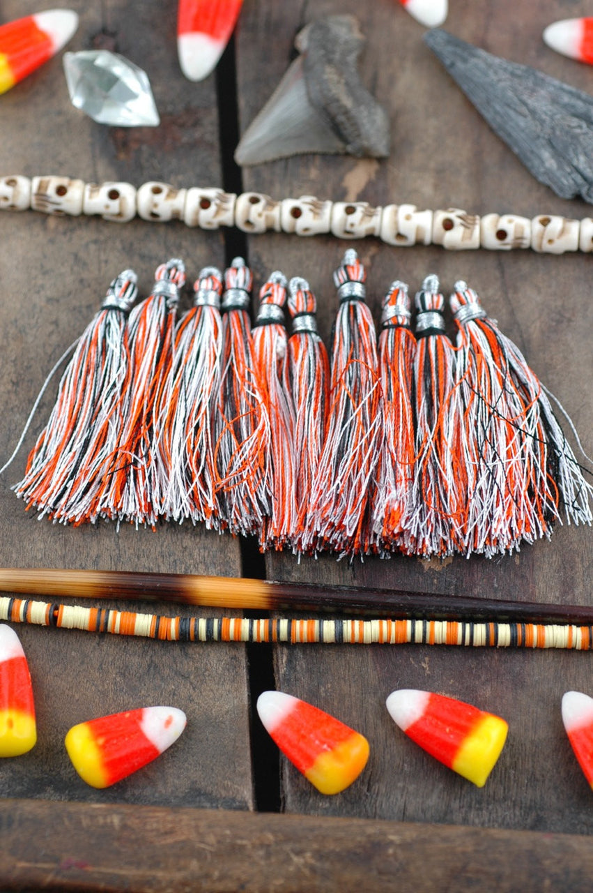 "Halloween Tassel Ten Pack: 2"" Art Silk from India - ShopWomanShopsWorld.com. Bone Beads, Tassels, Pom Poms, African Beads."