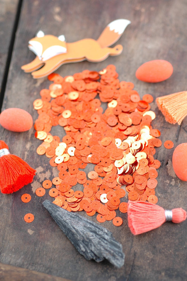 Sparkle Pumpkin Orange: Vintage French Metallic Sequins 6mm, Vintage Jewelry Making Supply, Rare, Halloween Decorating, Costume, Shiny, Fall - ShopWomanShopsWorld.com. Bone Beads, Tassels, Pom Poms, African Beads.