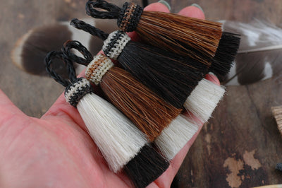 "Double Stack Horse Hair Tassels, 3"", 1 piece - ShopWomanShopsWorld.com. Bone Beads, Tassels, Pom Poms, African Beads."