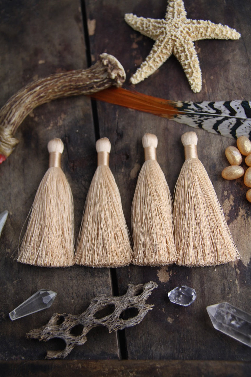 "Toasted Almond, 3.5"" Silky Luxe Tassels, 2 pieces - ShopWomanShopsWorld.com. Bone Beads, Tassels, Pom Poms, African Beads."