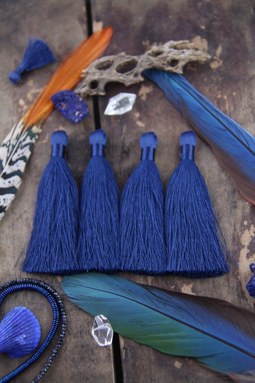 "Navy Blue, 3.5"" Silky Luxe Tassels, 2 pieces - ShopWomanShopsWorld.com. Bone Beads, Tassels, Pom Poms, African Beads."