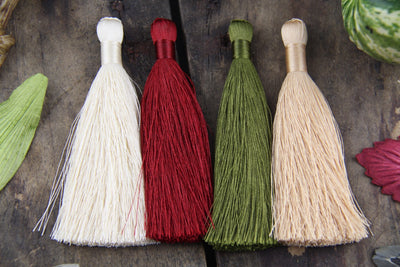 "Fall Colors Tassels, The Original Silky Luxe, 3.5"", 4 Pieces - ShopWomanShopsWorld.com. Bone Beads, Tassels, Pom Poms, African Beads."