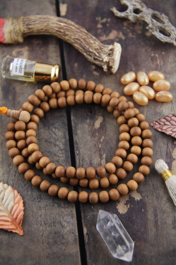9mm Sandalwood, 108 Aromatic Bead Mala - ShopWomanShopsWorld.com. Bone Beads, Tassels, Pom Poms, African Beads.