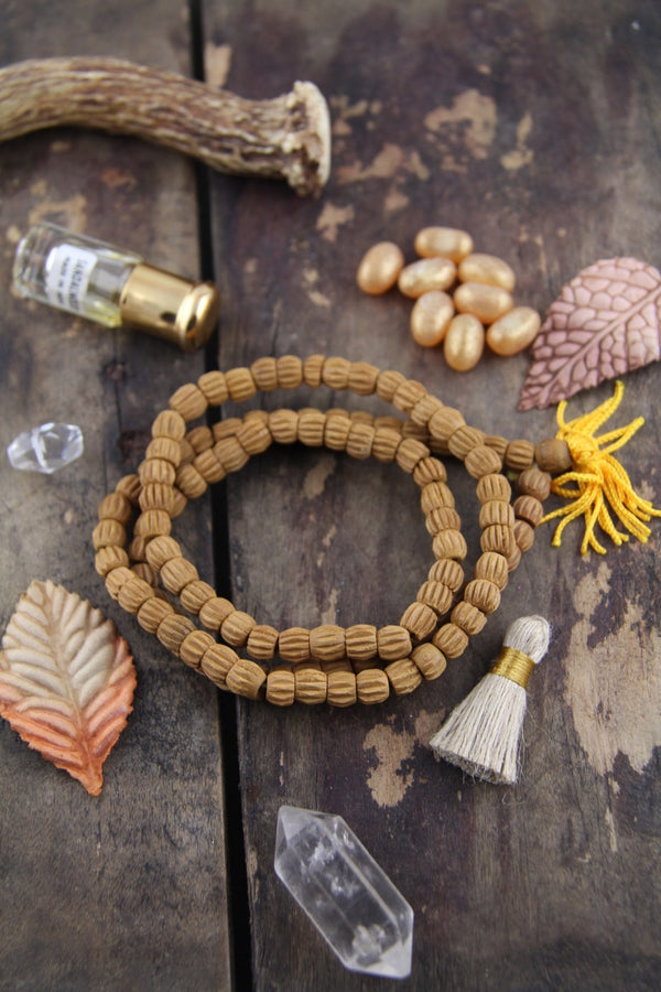 8mm Carved Sandalwood, 108 Aromatic Bead Mala - ShopWomanShopsWorld.com. Bone Beads, Tassels, Pom Poms, African Beads.