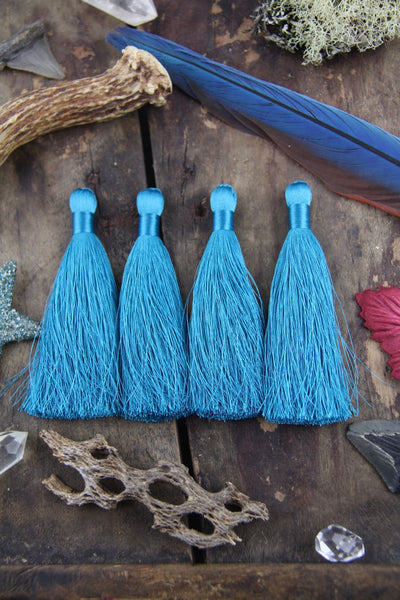 "Biscay Bay Blue Silky Luxe Tassels, 3.5"", 2 Pieces - ShopWomanShopsWorld.com. Bone Beads, Tassels, Pom Poms, African Beads."