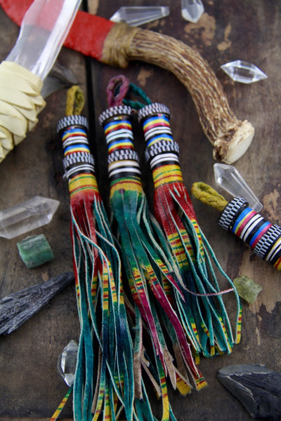 "Ombre Multi-Colored African Tuareg Goat Leather, 7.5"" Tassel - ShopWomanShopsWorld.com. Bone Beads, Tassels, Pom Poms, African Beads."