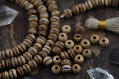 Brown Stained Inlaid: 8mm Bone Beads with Brass Band, 10 Pieces