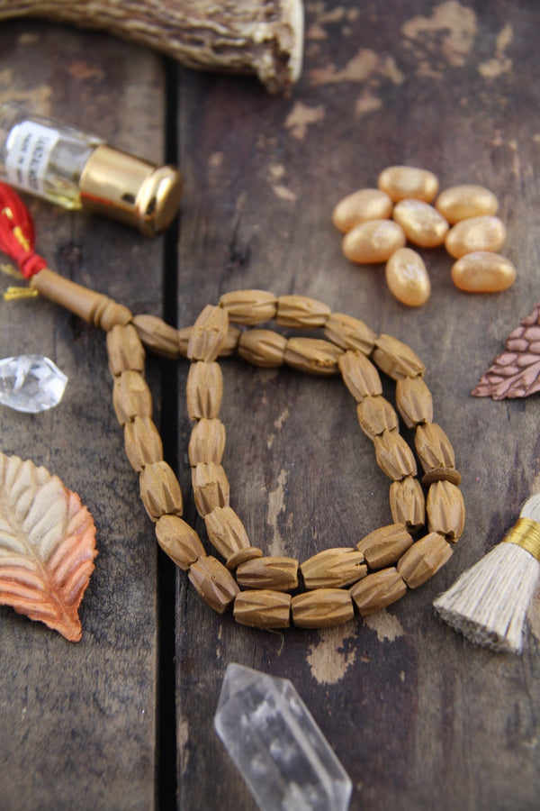 Carved Chevron Sandalwood, 8x10mm Aromatic Beads, 33 pieces - ShopWomanShopsWorld.com. Bone Beads, Tassels, Pom Poms, African Beads.