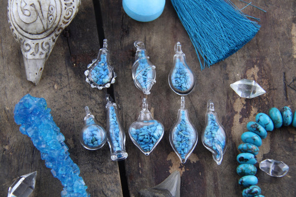 Turquoise Magic: Tiny Glass Bottle Pendant with Turquoise Chips, Choose from 8 Shapes - ShopWomanShopsWorld.com. Bone Beads, Tassels, Pom Poms, African Beads.
