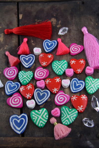 Valentine's Day Bone Beads, Hand Painted, 27x28mm, 8 Beads, Choose from 4 Colors - ShopWomanShopsWorld.com. Bone Beads, Tassels, Pom Poms, African Beads.