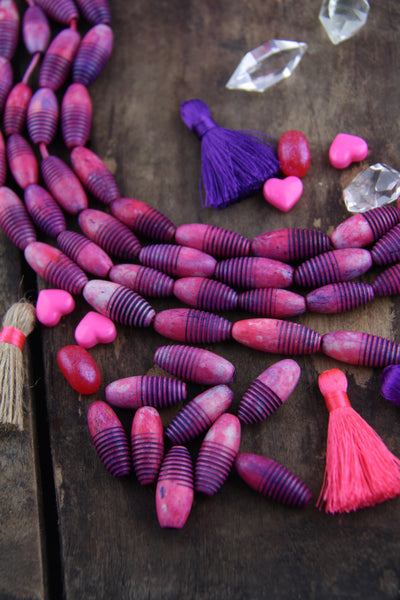Pink Grooved Barrels : Handmade Painted Bone Beads, 9x22mm, 8 pcs