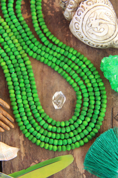 Green Olive Wood Beads, 5.5mm, 86 Hand Cut Round Beads - ShopWomanShopsWorld.com. Bone Beads, Tassels, Pom Poms, African Beads.