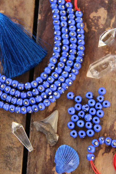 Blue Silver Spot Rondelle Bone Beads: 6x8mm, 30 Pieces