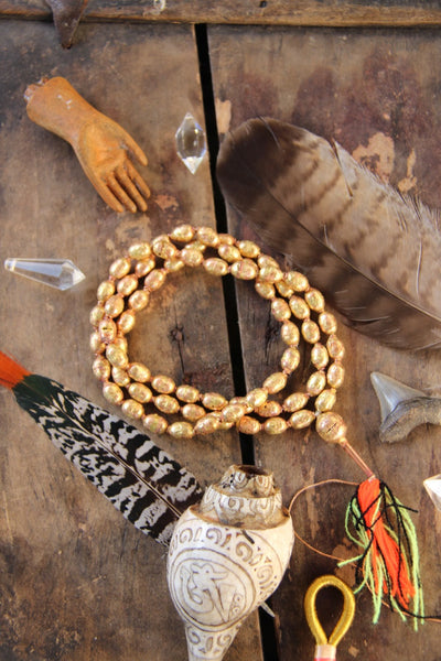 Ethiopian Brass and Copper Hollow Bead Mala, 9x12mm, Authentic Handmade African Tribal Jewelry Mala Making, Craft Supplies, Golden Beads - ShopWomanShopsWorld.com. Bone Beads, Tassels, Pom Poms, African Beads.