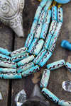 Turquoise Bone Tube : Large Hole Aqua Hand Painted Beads, 8x24mm, Craft, Tribal Jewelry Making Supply, Bohemian, Beach, Ocean, Summer, 8 pcs - ShopWomanShopsWorld.com. Bone Beads, Tassels, Pom Poms, African Beads.
