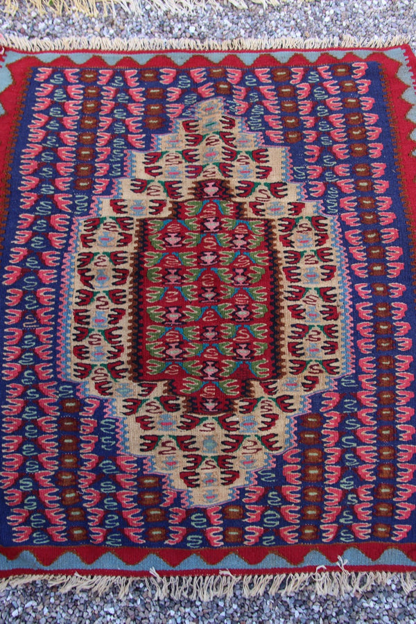 "Vintage Persian Kilim Area Rug, Senneh Design, Hand Woven, 3"" x 3'2"", Excellent Condition, Wool, Boho, Tribal, Global Home Decor - ShopWomanShopsWorld.com. Bone Beads, Tassels, Pom Poms, African Beads."