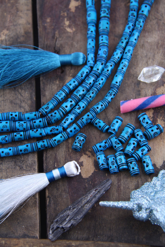 Deep Turquoise: Tribal Bone Beads, 7x13mm, 16 pieces