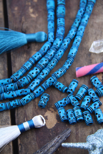 Deep Turquoise: Tribal Bone Beads, 7x13mm, 16 pieces - ShopWomanShopsWorld.com. Bone Beads, Tassels, Pom Poms, African Beads.