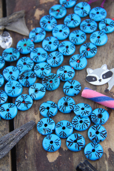 Deep Turquoise Blue Tribal Donuts: Handmade Bone Beads, 5x16mm, 12 pieces - ShopWomanShopsWorld.com. Bone Beads, Tassels, Pom Poms, African Beads.