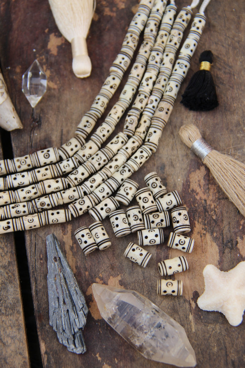Cream Tribal Tube Bone Beads : Handmade Large Hole Barrels, 6x14mm, Natural Craft Tribal Jewelry Making Supply, Bohemian Beads, 16 pcs - ShopWomanShopsWorld.com. Bone Beads, Tassels, Pom Poms, African Beads.
