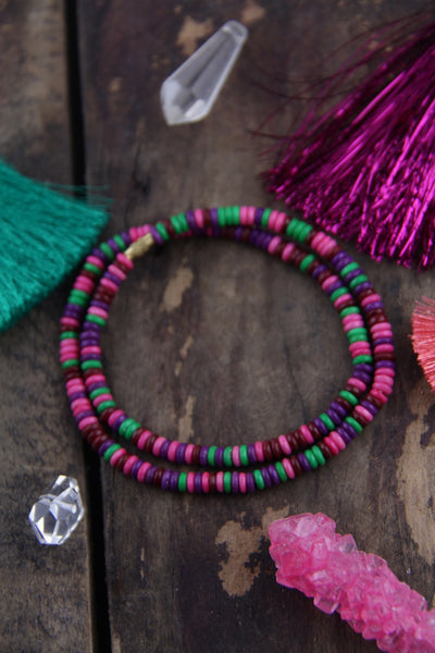 "Grapes & Berries: Pink, Purple, Green Bone Beads, 5x2mm, 18"" Strand - ShopWomanShopsWorld.com. Bone Beads, Tassels, Pom Poms, African Beads."