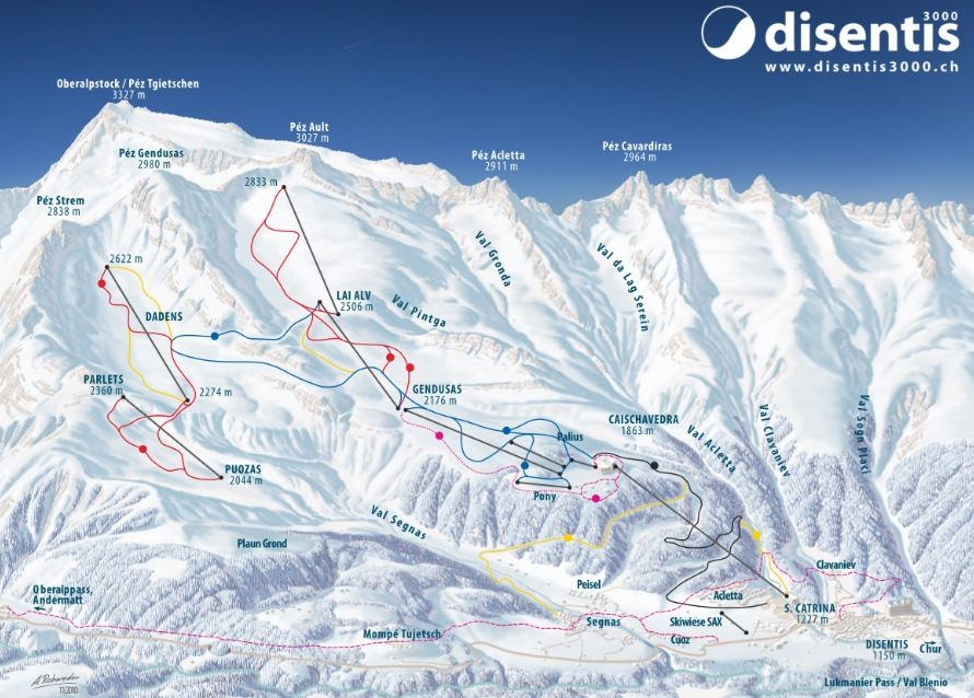 Disentis 3000, Switzerland trail map
