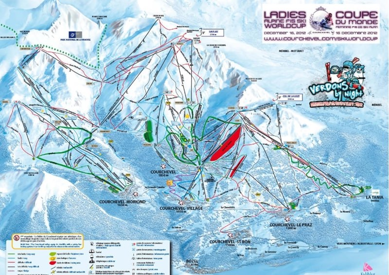La Tania Ski trail map