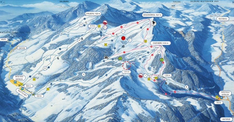 Gaissau-Hintersee Austria Ski trail map