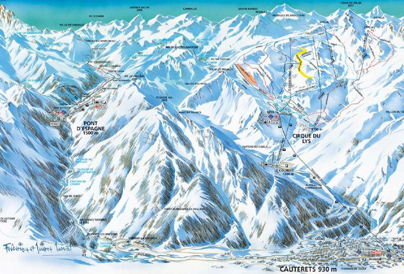 Cauterets, France skiing trail map