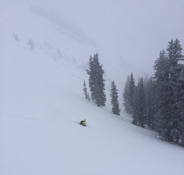 Micah dropping in Dutch's Draw Canyons Backcountry