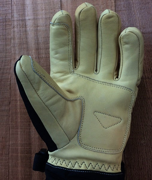 leather palm Long Cuff Ski Glove by free the powder